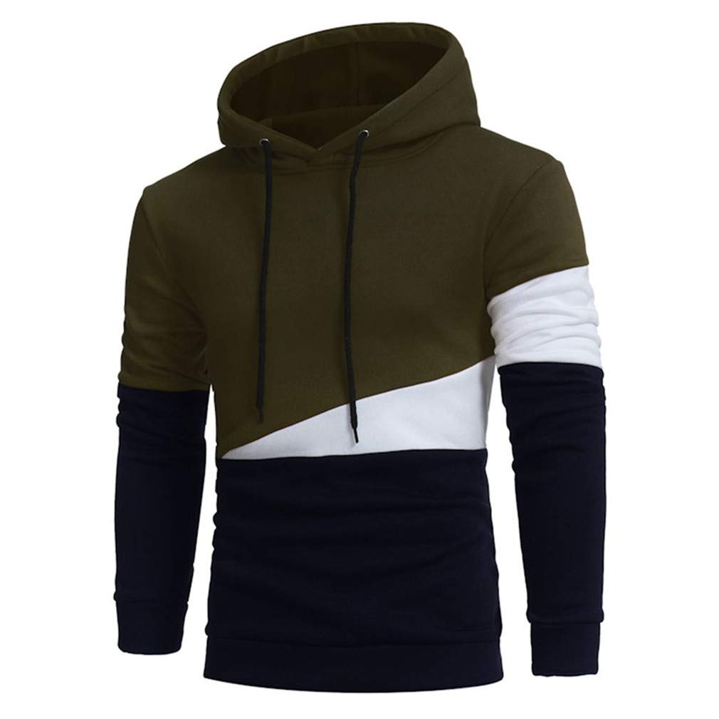 Usopu Mens Casual//Daily Sports Color Block Stitching Long Sleeve Hoodie