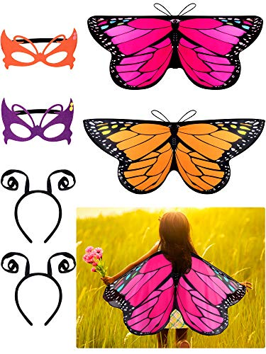 6 Pieces Butterfly Wings Costume with Mask Antenna Headband for Kids Halloween Party (Style 3)