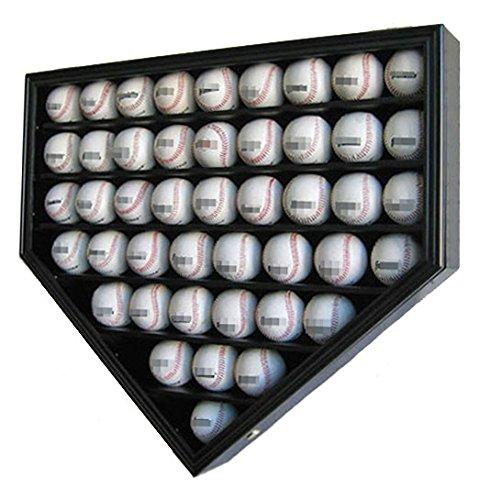 46 Pro Baseball Display Case Holder Wall Mounted Cabinet, 98% UV Protection, Lock, Black Finish