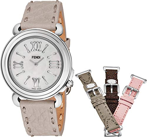 Fendi Selleria Womens Watch Set with Interchangeable Bands - Mother of Pearl Face Swiss Dress Watch for Women - Brown, Pink, Light and Dark Grey Leather Bands Analog Quartz Ladies Watch F8010345H0