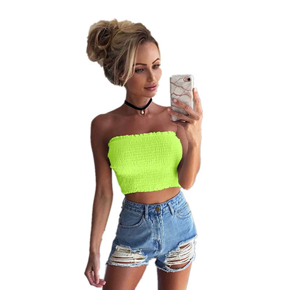 Handyulong Women Strapless Elastic Boob Bandeau Tube Tops Bra Lingerie Breast Wrap Green