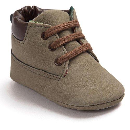 HUHU833 Kinder Mode Baby Stiefel Soft Sole, Bunt Schuhe Baby High Cut Kleinkind Weiche Sole Leder Schuhe Säugling Junge Mädchen (12CM, Braun)