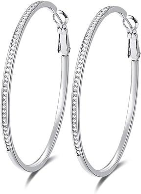 925 Sterling Silver Polished /& Textured Heart w//CZ Hoop Earrings