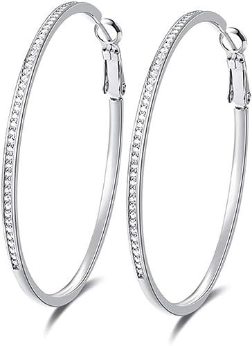 925 Sterling Silver Rhodium-plated Grey Ice CZ Hoop Earrings