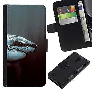 All Phone Most Case / Oferta Especial Cáscara Funda de cuero Monedero Cubierta de proteccion Caso / Wallet Case for Samsung Galaxy S4 IV I9500 // White Shark