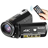 Camcorder,Besteker 4K 60fps 24MP 30X Digital Zoom Video Camcorder Ultra HD with Wi-Fi and IR Night Vision and Supports Wide Angle Lens