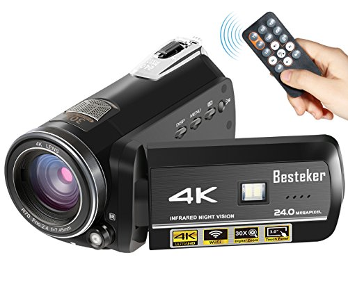 4K Camcorder, Besteker 4K 60fps 24MP 30X Digital Zoom Video Camcorder Ultra HD with Wi-Fi and IR Night Vision and Supports Wide Angle Lens