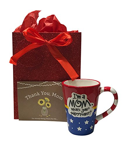 Holiday Gift Sets For Mom - Coffee Mug for Mom, Thank You Card, Glitter Red Gift Bag and Tissue (Mom Glitter)