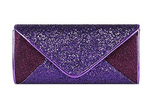 Chicastic Sequin Mesh Bridal Wedding Evening Cocktail Envelope Clutch Purse - Purple (Clutch Sequin Mesh)