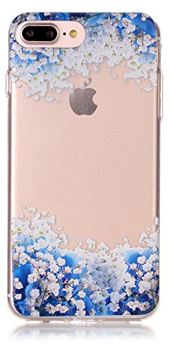 iPhone 8 Plus Case, IPhone 7 Plus Case Transparent 5.5 Inch Clear TPU Silicone Ultra Thin Design Soft Back Cover With Embossed Pattern Blue Flowers Touch-U Phone Stand ( Not Fit iPhone 7 4.7 Inch ) from AIYZE