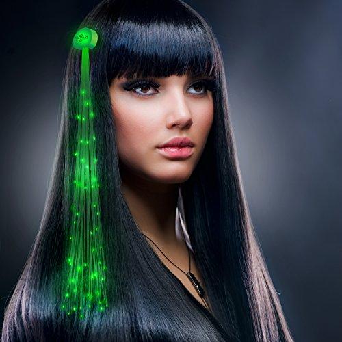 Green Fiber Optic LED Hair Clip Extensions (Set of 12)