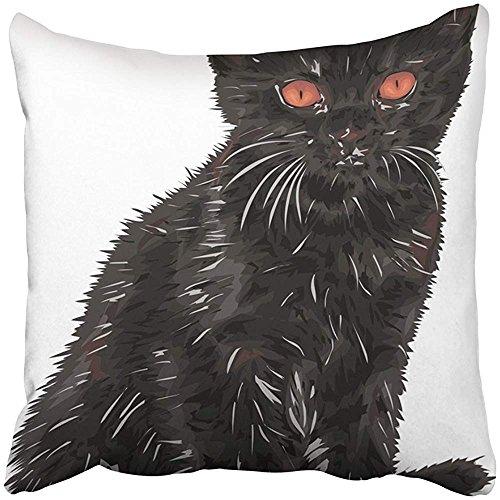 Throw Pillow Cover Square 18x18 Inches Orange Animals Cute Little Cat Black Clip Detail Eyes Graph Halloween Nature Original Polyester Decor Hidden Zipper Print On Pillowcases