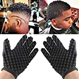 Tpingfe Fashion Curls Coil Magic Tool Wave Barber Hair Brush Sponge Gloves, 2pc (Left+Right)