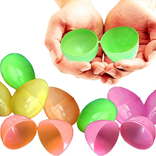 Confetti Easter Eggs (Colorful Plastic Easter Eggs - One Dozen - 12 Pieces - Fillable Bulk Eggs - Assorted Bright Colors - Close Tight Easily - Perfect Size Easter Holder!)