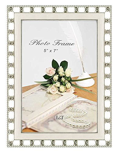 - L&T Elegance Metal Picture Frame Silver with White Cream Enamel and Crystals 5 x 7 Inch