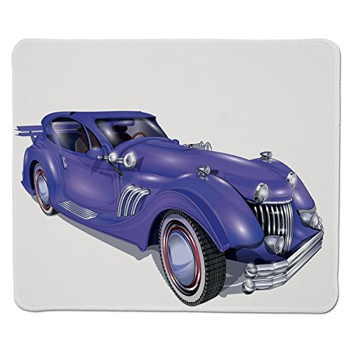 Mouse Pad Unique Custom Printed Mousepad [ Cars,Custom Vehicle with Aerodynamic Design for High Speeds Cool Wheels Hood Spoilers Decorative,Violet Blue ] Stitched Edge Non Slip Rubber - Edge Spoiler