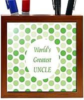 Rikki Knight 5-Inch World's Greatest Uncle Green Polka Dot Design Wooden Tile Pen Holder (RK-PH1780)