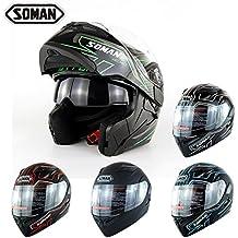 Motocross Helmet Full face Off-road Cross Country Four Seasons Helmet Motorcycle Double lens Flit up Street Bike Riding S-XXL Head Protection Helmet Matteblack M