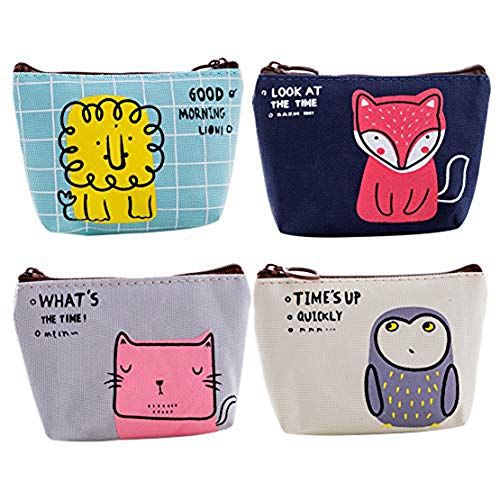 (Retro Money Bag Small Cute Coin Purse(Pack of 4) (Pattern 10))