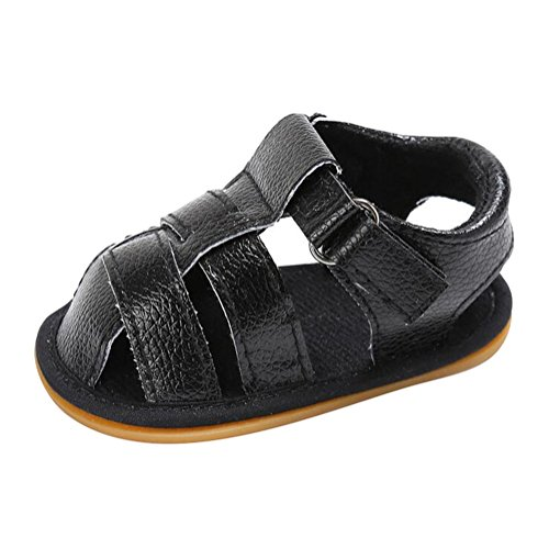 hibote Bebé Recién Nacido Prewalker Soft Leather Anti-slip Toe Sandal Zapatos Black 12-18M negro