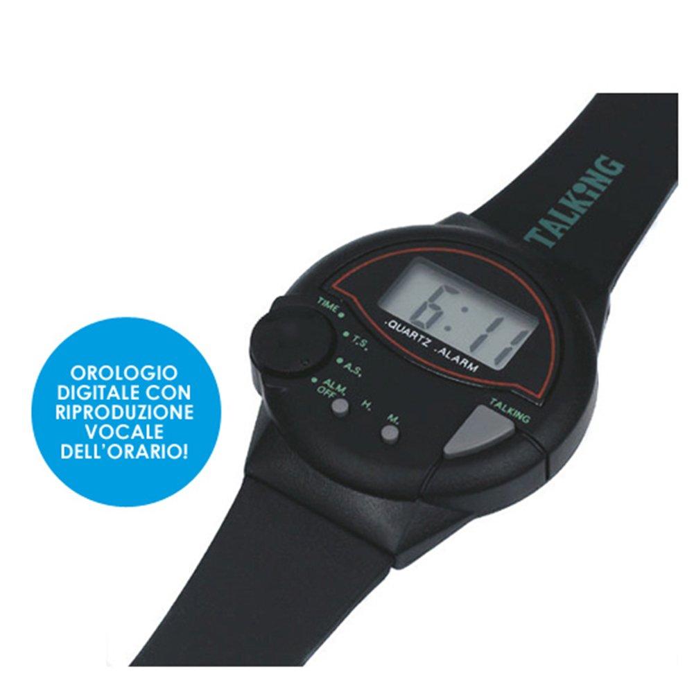 Cursonline orologio digitale da polso parlante in italiano unisex per bambino anziani non vedenti watch omaggio 1 batteria di ricambio amazon it sport e