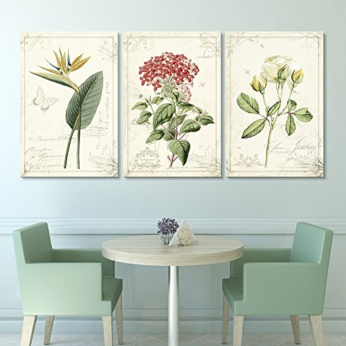 3 Panel Vintage Style Plants and Flowers x 3 Panels