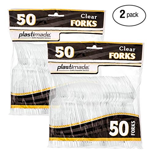 Plastimade Cutlery Heavy Weight Clear Plastic Forks 50 Forks In A Pack Pack of 2