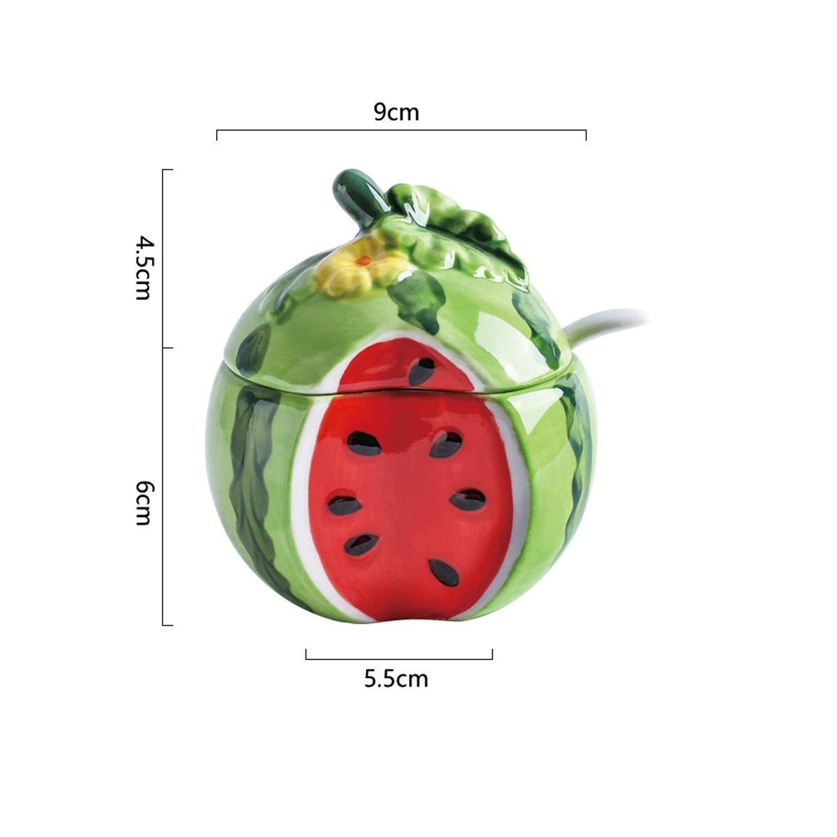 MINGRUIGONGMAO Sherrie creative home fruit embossed ceramic seasoning jar watermelon styling seasoning box personality cute with lid salt cans Plush toys (Color : A) by MINGRUIGONGMAO