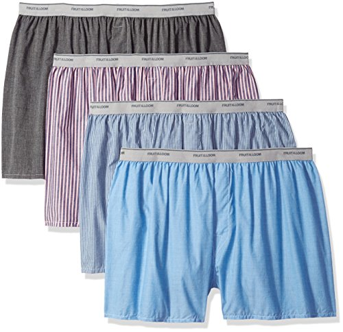 Fruit of the Loom Men's Woven Tartan and Plaid Boxer Multipack, Exposed Waistband - Assorted (4 Pack), 2X-Large