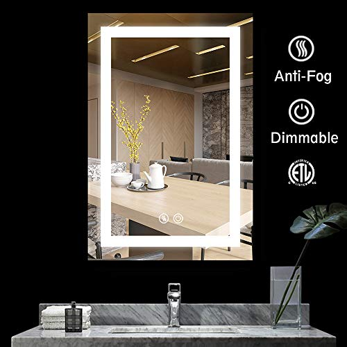 LED Bathroom Makeup Vanity Mirror with Lights-Wall Mounted Backlit Mirror, Vanity Lighted Mirror with ETL Certification for Whole Mirror, 24 x 36 Inch