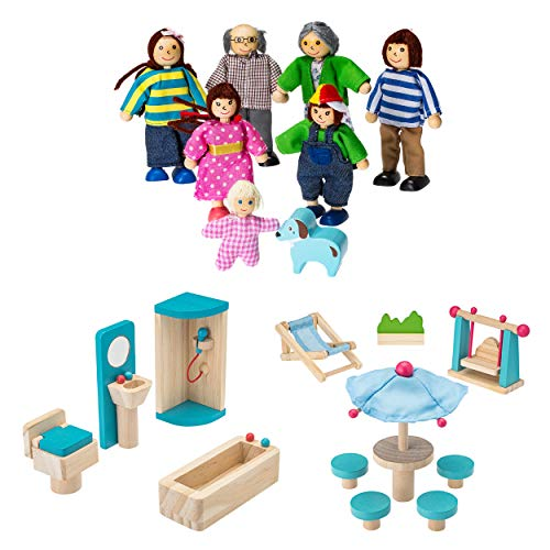 e Furniture and Doll Family Bundle: Including 1 Doll Family with Dog - 1 Patio Set - 1 Bathroom Set - Colorful Wooden Dollhouse Accessories Set - (20 PCS) ()
