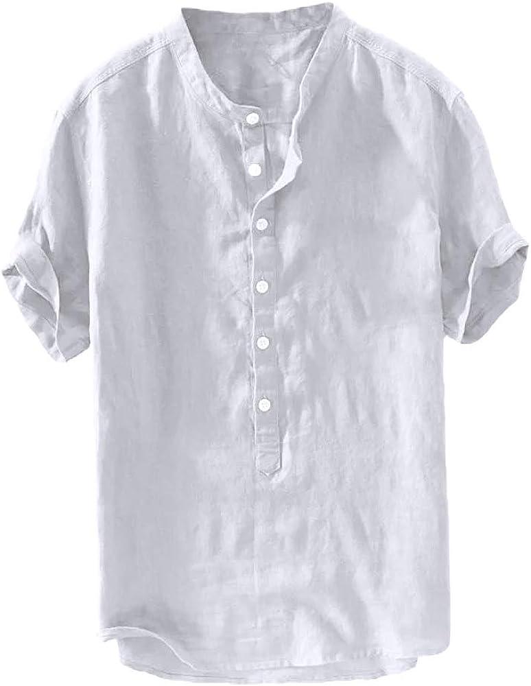 Taoliyuan Mens Linen Henley Shirts Short Sleeve Casual Banded Collar Summer Beach Loose Fit T Shirt with Pocket