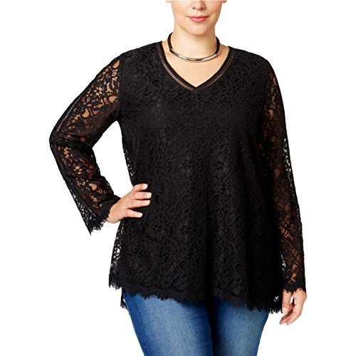 Style & Co. Womens Plus Eyelash Lace V-Neck Blouse Black - For Women Styles