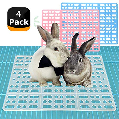 4 Pieces Rabbit Mats for Cages Rabbit Guinea Pig Hamster and Other Small Animal Cage Hole Mat Prevent Pet Skin Disease with 8 Fixed Tabs (Blue)