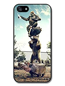AMAF ? Accessories Funny Animal Pyramid Gorilla Ostrich Bear & Hippo case for iphone 5c