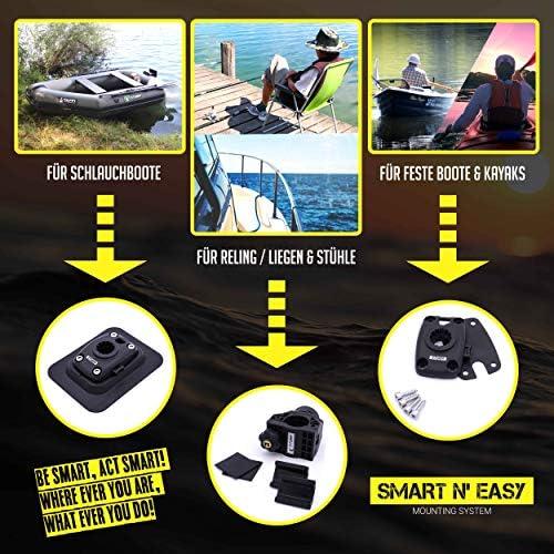 Kayaks und Feste Boote SMART N EASY Rutenhalter Extreme f/ür Schlauchboote