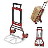 Fashine 165lbs Aluminum Portable Heavy Duty Folding Hand Truck, Lightweight Luggage Cart Dolly for Travel, Shopping or Industrial[US Stock] (165lbs)