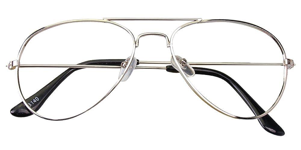 Dintang Bambini Decorativo con Nessuna lente Retrò Occhiali in Metallo Montatura per Occhiali Argento