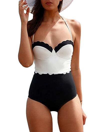 Bañador Retro 50s Cuello Halter Traje de Baño Una Pieza Bikini con ...