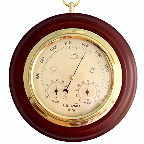 Mahogany Barometer (ClimeMET CM4012 Traditional Mahogany Wood Surround Forecaster & Barometer. Perfect Christmas Gift for any Weather Enthusiast.)