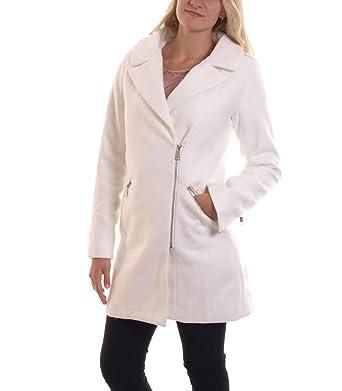 db560f87201a15 Hailys Damen Kurzmantel Janine Fleece Mantel Wintermantel Stehkragen in Weiß,  Größe:S