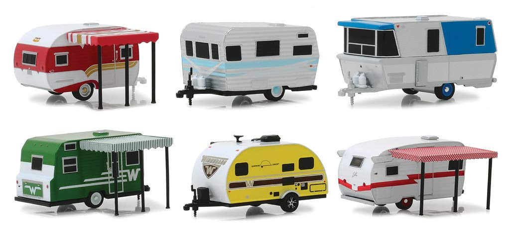 Hitched Homes Series 6, 6 Piece Travel Trailers Set 1/64 Diecast Models by Greenlight 34060