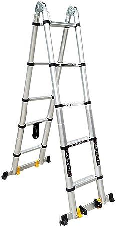 Escalera escamoteable De aluminio telescópica Escalera, 440 Lb Gran capacidad de carga, A-Tipo de la extensión doblada en una escalera larga, industrial compacto Loft Escalera diarias del hogar o de u: Amazon.es:
