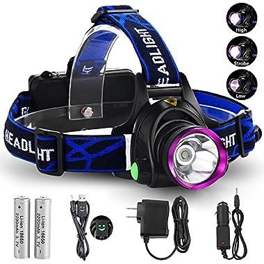 GRDE 3181 3 Modes LED Headlight, 2200 Lumens, Waterproof, Black/Purple