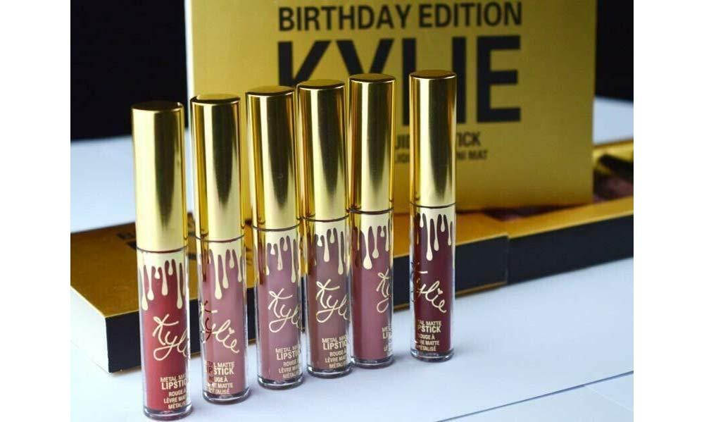JENNER Birthday Edition - 6PCS Women Long Lasting Lip Gloss Beauty Glaze Matte Liquid Lipstick Makeup Tool Sett(Gold)