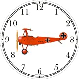Red Triplane - JP - Wall Clock by WatchBuddy Timepieces (Black Frame)