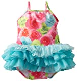 51CHcQhGJtL. SL160  Kate Mack Baby Girls Infant Hula Flowers Swim Ballerina Tank, Pink/Blue/Green, 12 Months