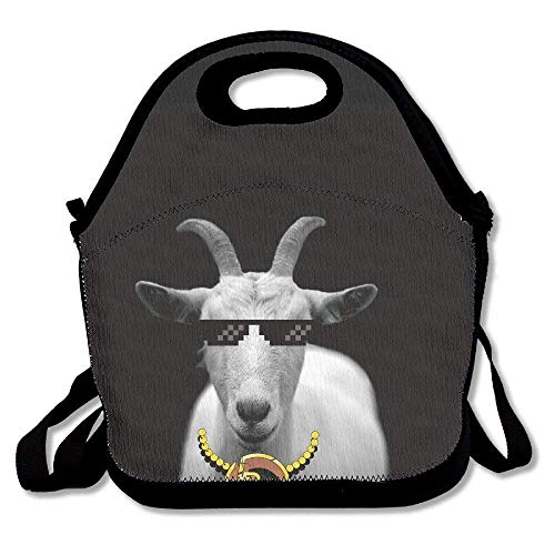 Funny Goat Animal Horns Black and Insulated Lunch Bag - Neoprene Lunch Bag - Large Reusable Lunch Tote Bags for Women, Teens, Girls, Kids, Baby, Adults Portable ()