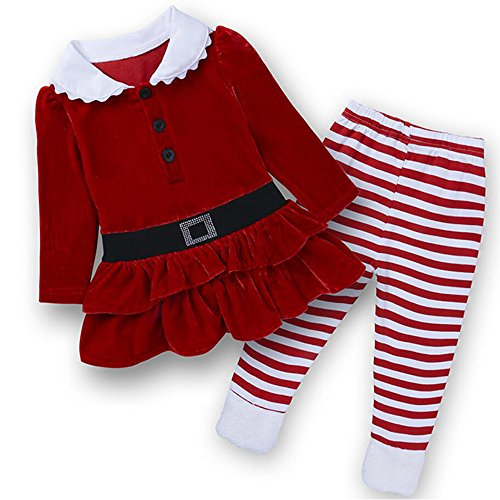 ZSY FOR U Toddler Girls Christmas Santa Red Long Sleeve and Stripe Pant Corduroy Clothing Set Size 1-6Years (3T) - Corduroy Suit Costume