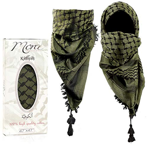 Mora Premium Shemagh Scarf: Large 100% Cotton Arab Tactical Military Desert Head Neck Keffiyeh Wrap with Tassels(Camo Black)